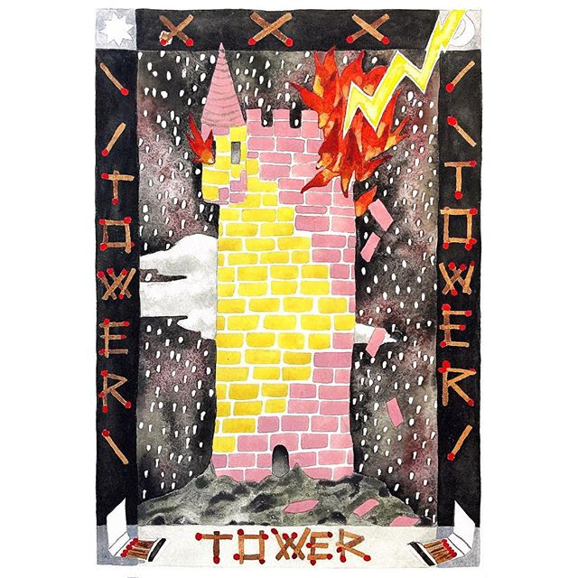 ❤️New beginnings for 2019! 👀'Matchstick Tower' is my own version of the tarot tower card, a symbol of upheaval, chaos, breakthroughs and great change. Change comes to even the most fortified- it's a symbol I've been fascinated with and has been worked into many of paintings. #thetower #tarot #fortress #watercolor #babel