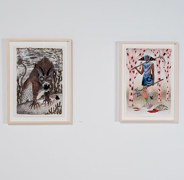 🖤Fun pairing, a good'ole fashion monster the 'Texas Chupacabra' and 'Warrior with Severed Claw' 🖤 #kirkhopperfineart #watercolor #watercoloronpaper #womenwarriors