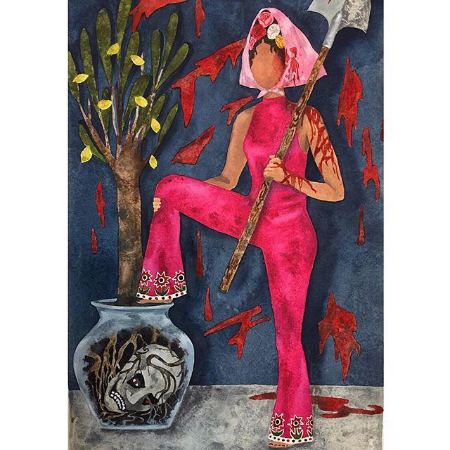 ⚔️🍋⚔️Fertilizer for my Lemon Tree' gotta love a jumpsuit💕 #watercolor #womenwarriors #demonslayer #watercoloronpaper
