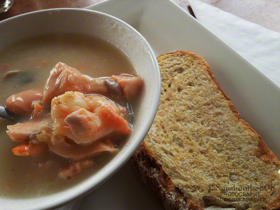 The most delicious salmon seafood chowder at Lava Glass, Glass Blowing Studio, Gallery & Cafe.