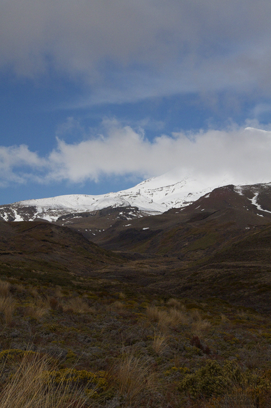 An awesome view of Mt. Ruapehu from the trail. Being winter, I guess it's too much ask to photograph even one mountain without any cloud cover. There are several times when I think I'll be lucky, but the purposefully slow-moving clouds foil me time and again. Where is the justice?