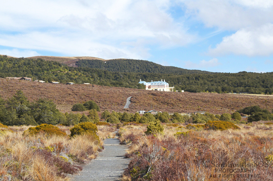 After leaving the tranquil forest, I'm disappointed to see Tongariro Chateau in the distance...oy vey, back to civilization. However there are two gulleys to navigate through, plus awesome mountain views cheer me up.