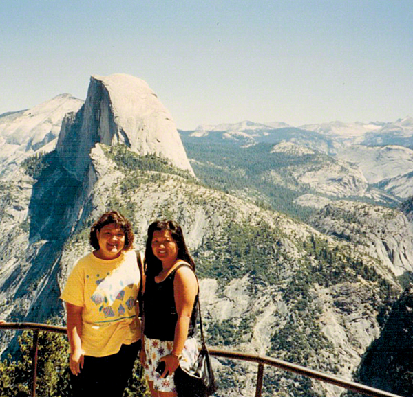 Me on the left and my friend   navigator   partner in crime, Cheryl, with Half Dome in the background. We actually went to the same high school, but didn't get to know one another until we started catching the bus to the University of Hawaii. Pretty soon we were driving (I as the pilot, of course!) and had such a great time that it seemed only natural that we could take it on the road!