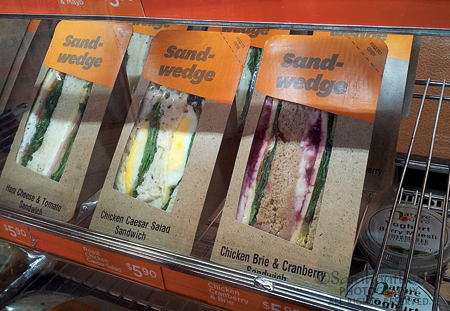Dahling, might you have a Chicken Brie & Cranberry or Chicken Caesar Salad sandwich? Seriously. Brie? I think 7-Eleven needs to research the offerings available in convenience stores here, take notes and try them (at the same prices) in Hawaii.