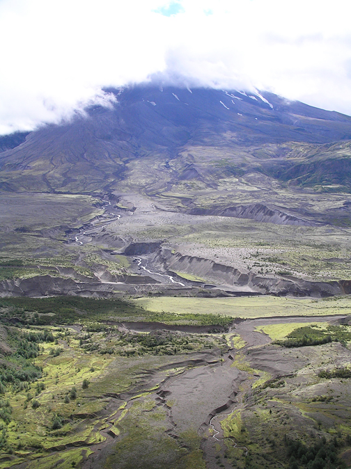 After a while, the sun broke through a bit. I just imagined what it might have been like to stand at this point and see the mountain explode in front of me—and couldn't. This is the site where volcanologist David A. Johnston's camp was located on the morning of the eruption.