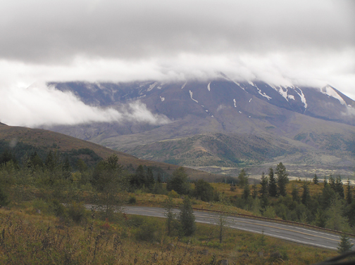 My first view of Mount St. Helens. I was disappointed that the top wasn't visible, but it is what it is.