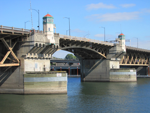 The Morrison Bridge is on the National Register of Historic Places and spans the Willamette River.