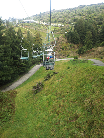The first of three rides on the chairlift. I've got a death grip on the side bars because it's a long way down!