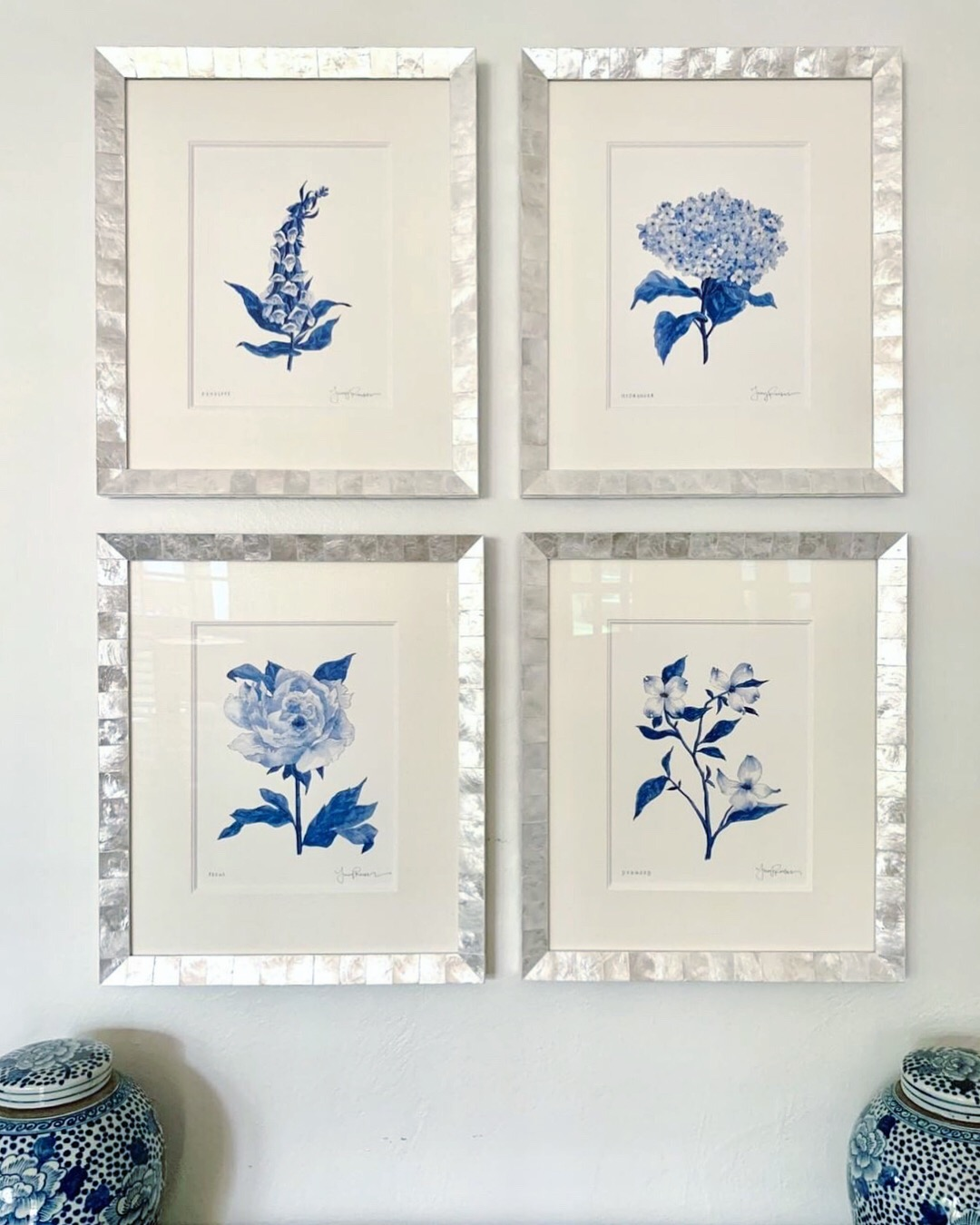 A beautiful installation of perfectly-framed botanical prints!