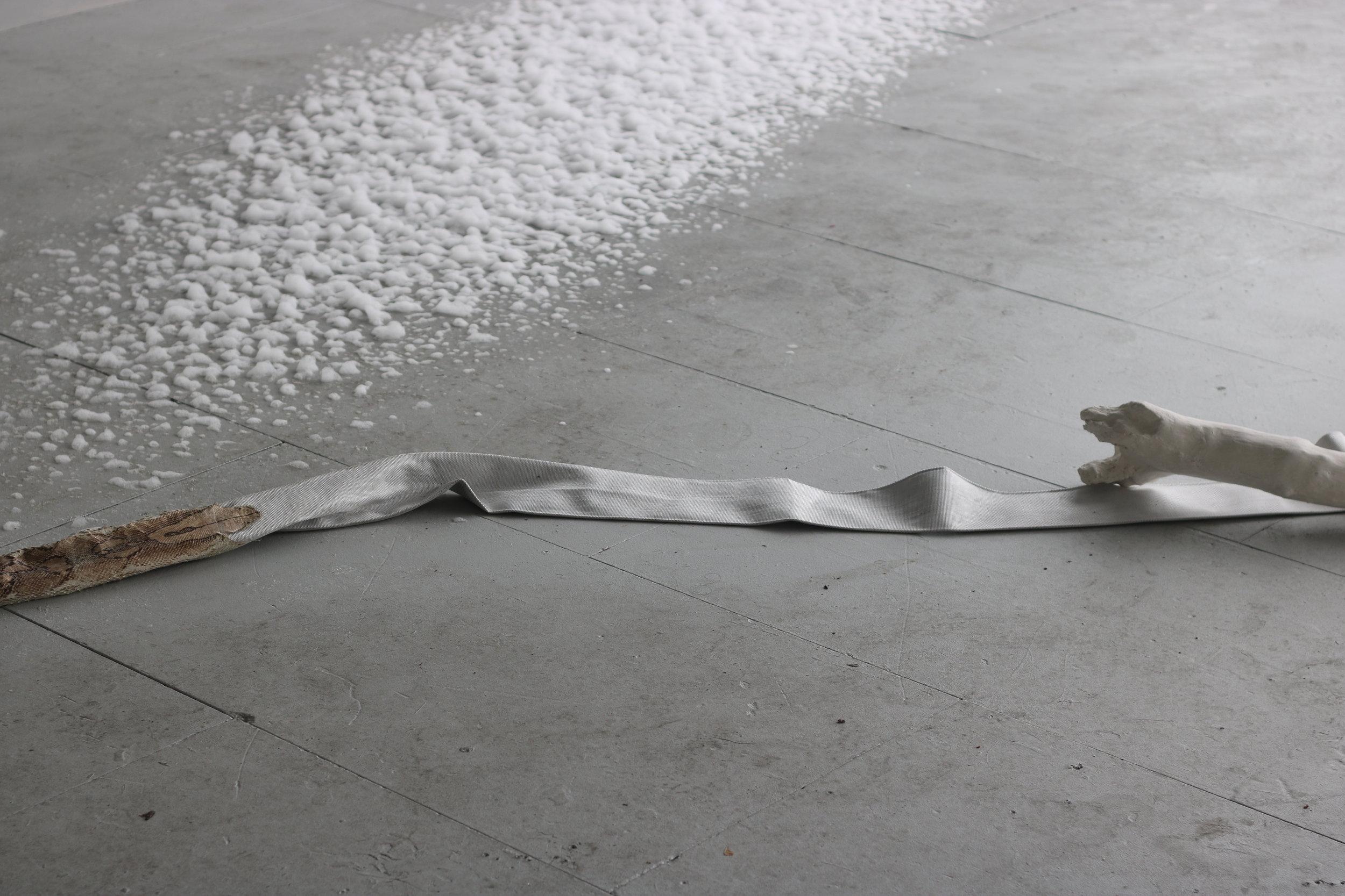 'leviathan', fire hose, snake skin, cotton, sand