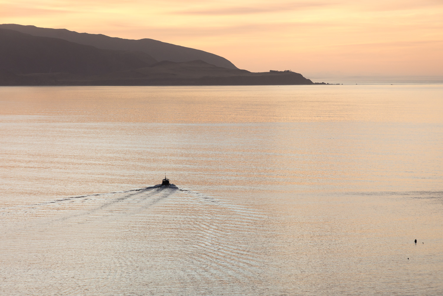 A fishing boat heads out from Island Bay at sunrise, the golden sky reflected in the calm water.