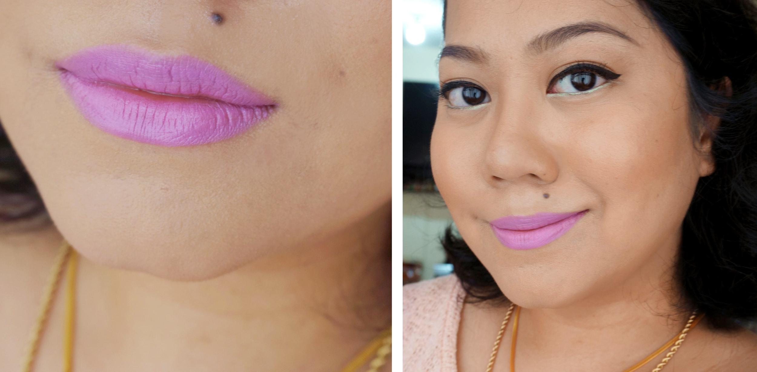 A lip + face swatch of Dodgy Girl. It's a fun color but definitely not a daily shade for me!
