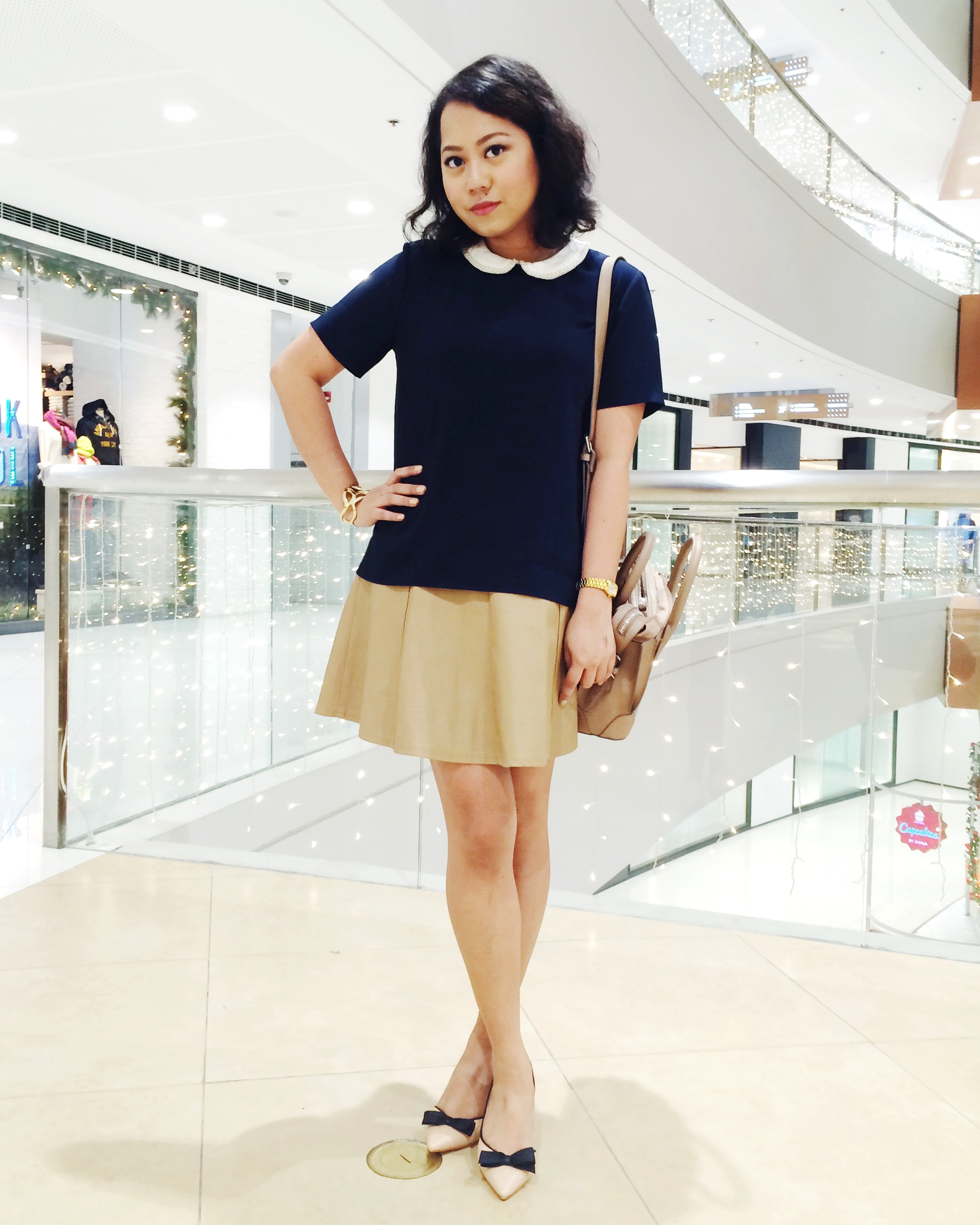 Top and satchel from ZARA / Skirt from Forever 21 / Kitten heels from parisian / Bangle from Pinkbox