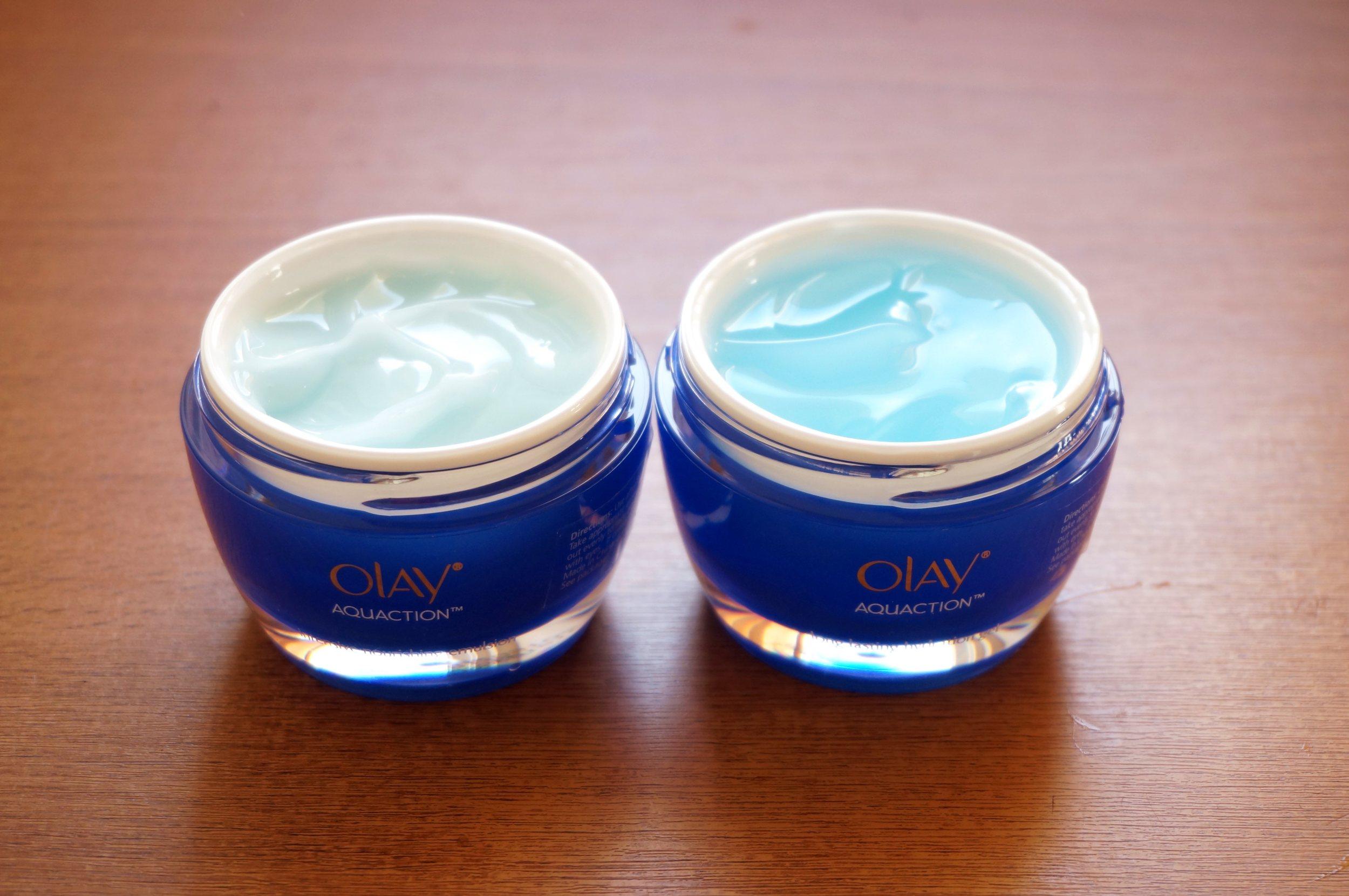 The Olay Aquaction Nourishing Emulsion and Olay Aquaction Softening Sleeping Mask & Long Lasting Hydration Gel