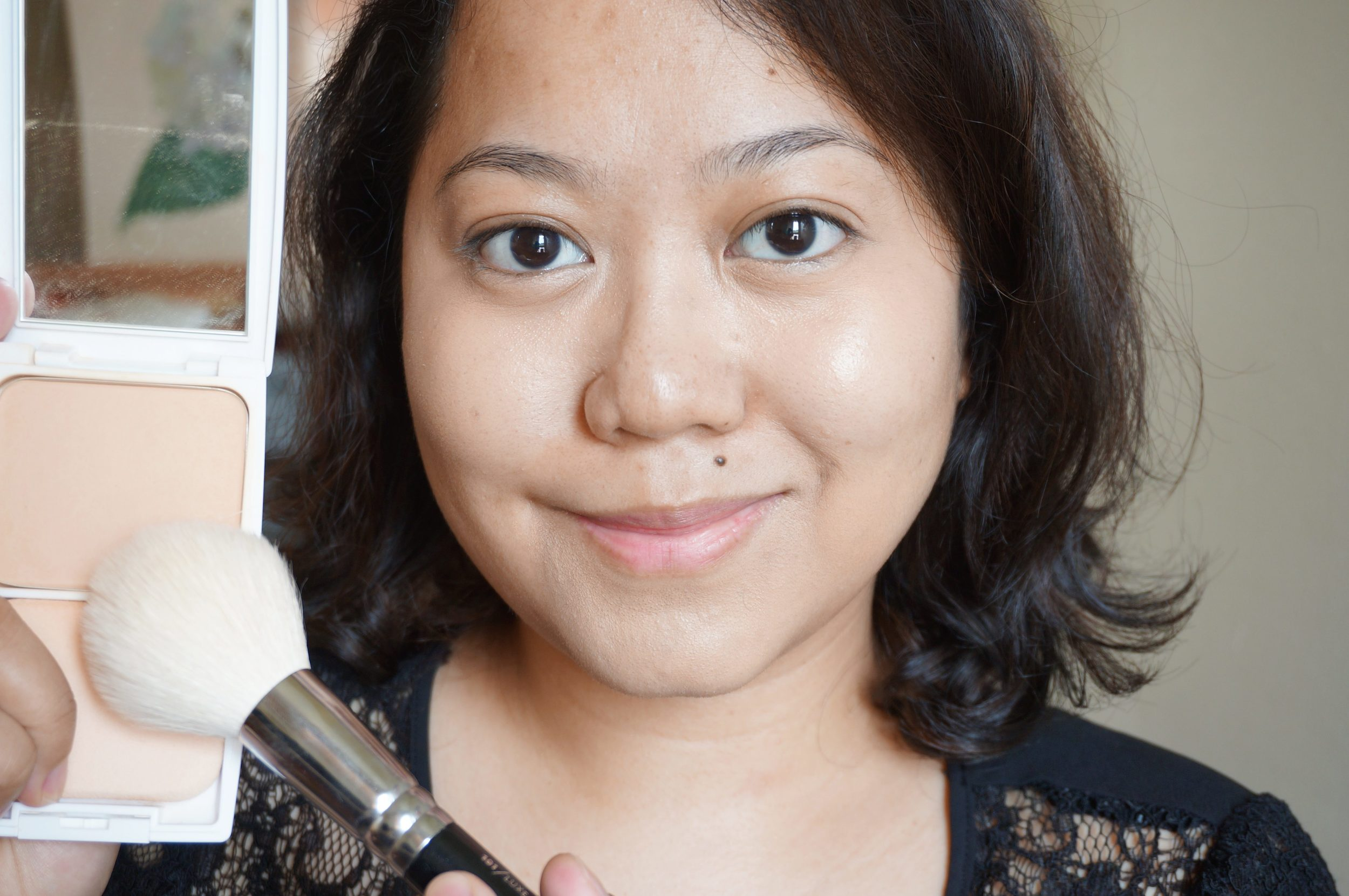 Step 2: With a fluffy powder brush, apply the Pixy Perfect Matte Cake all over your face, focusing on uneven areas. Layer only as needed! You want a fresh face, not a heavy one.