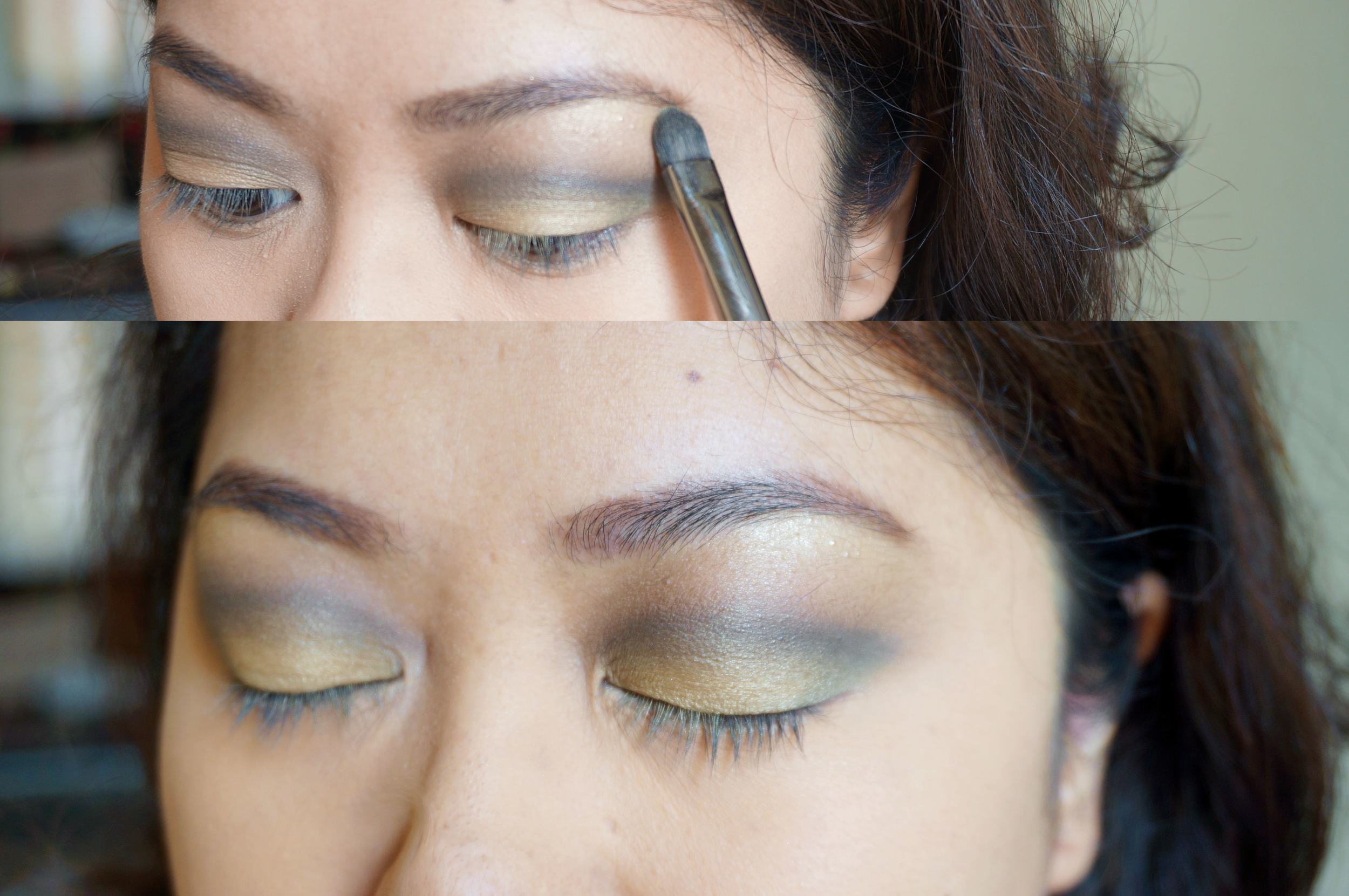 Step 8: Retouch the gold shadow on your lids and add a bit right under your brows. You want the gold to show up in the right places.