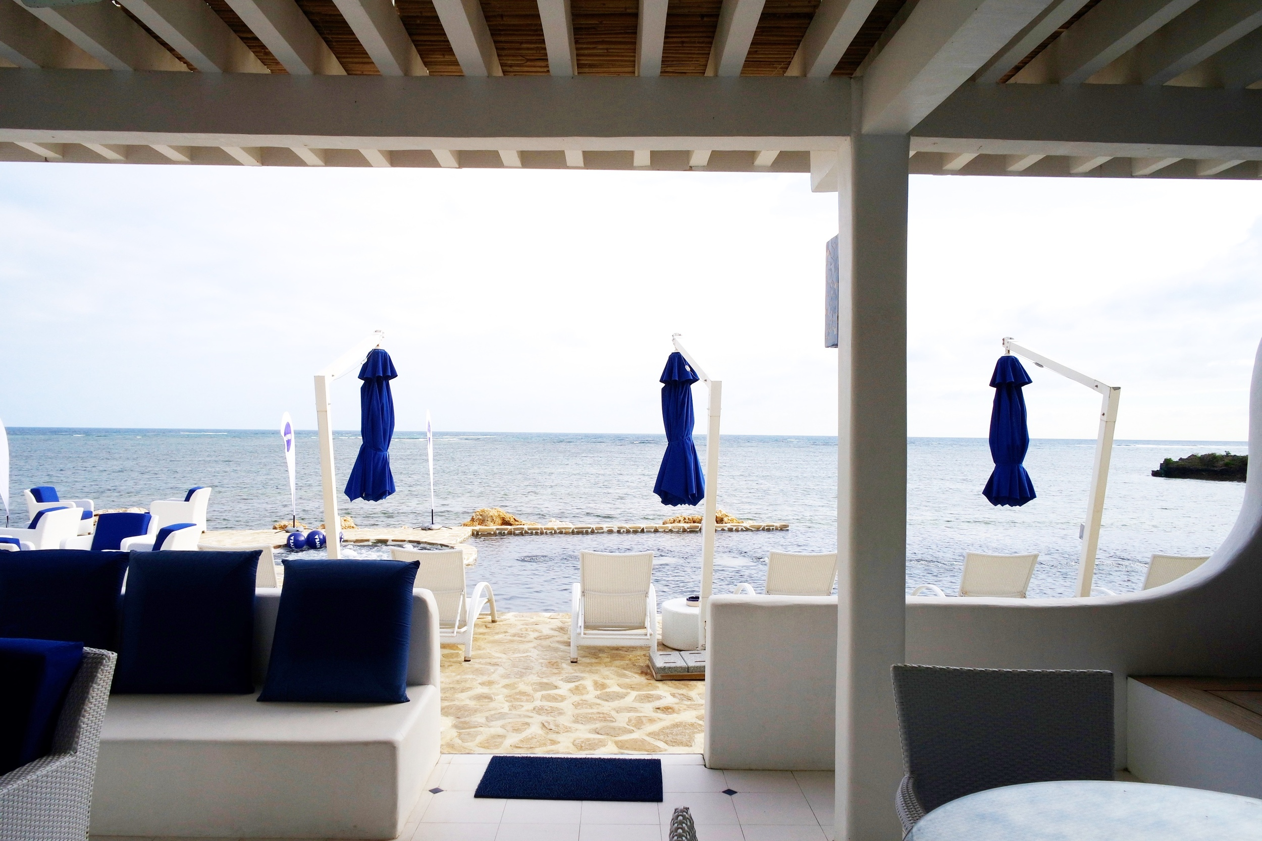 ...with a view of the pool and the endless sea.