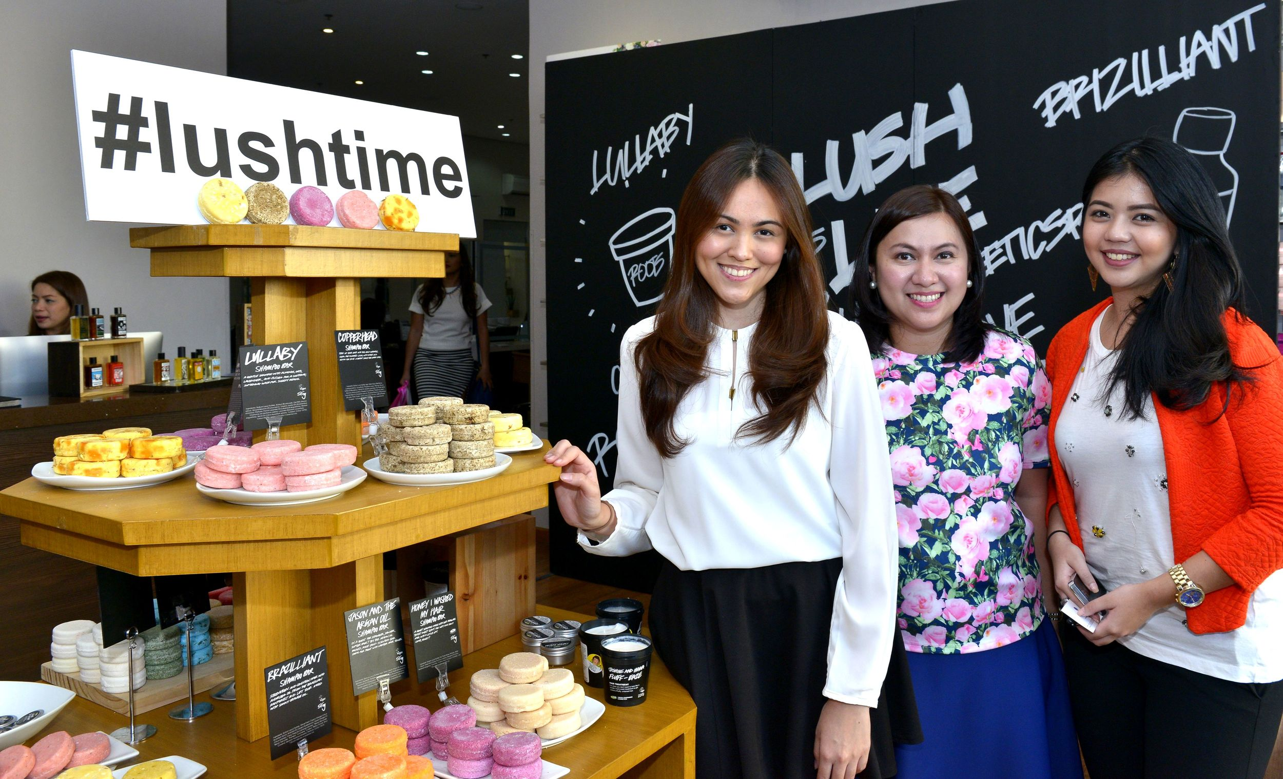 Associate Merchandise Manager for Lush Philippines Tasha Sarmiento, Merchandise Manager for Lush Philippines Ida Nones and Merchandise Assistant for Lush Philippines Kesh Tatlonghar