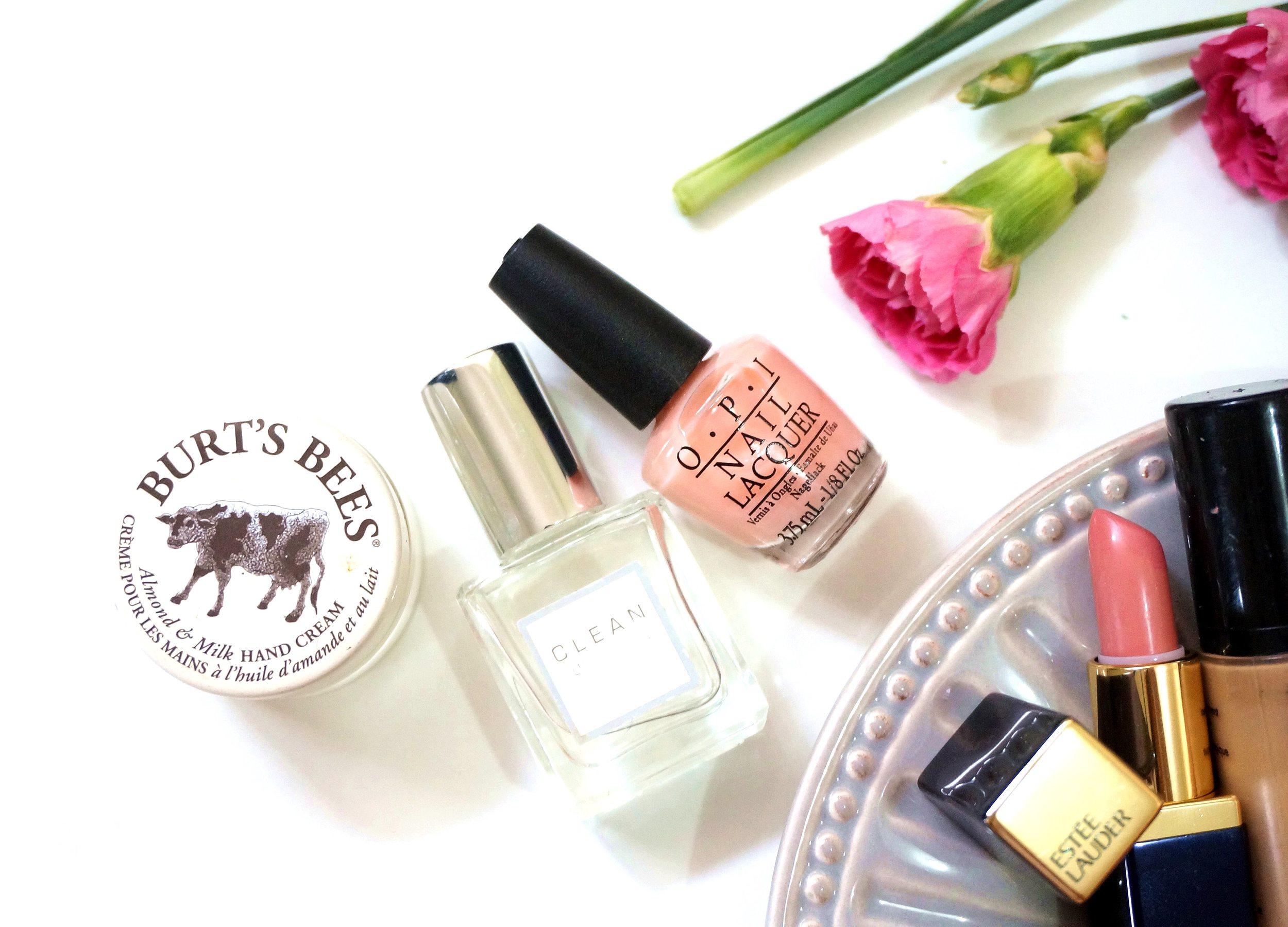 Burt's Bees Almond & Milk Hand Cream, Clean Perfume, and OPI Nail Polish