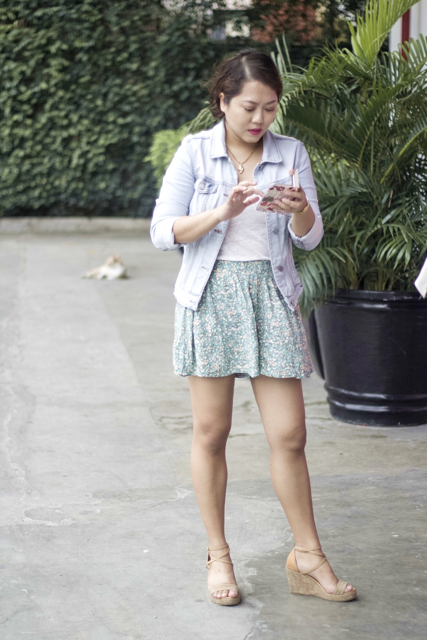 Denim jacket from Mango / White shirt from Zara / Tan wedges from Ferretti Shoes