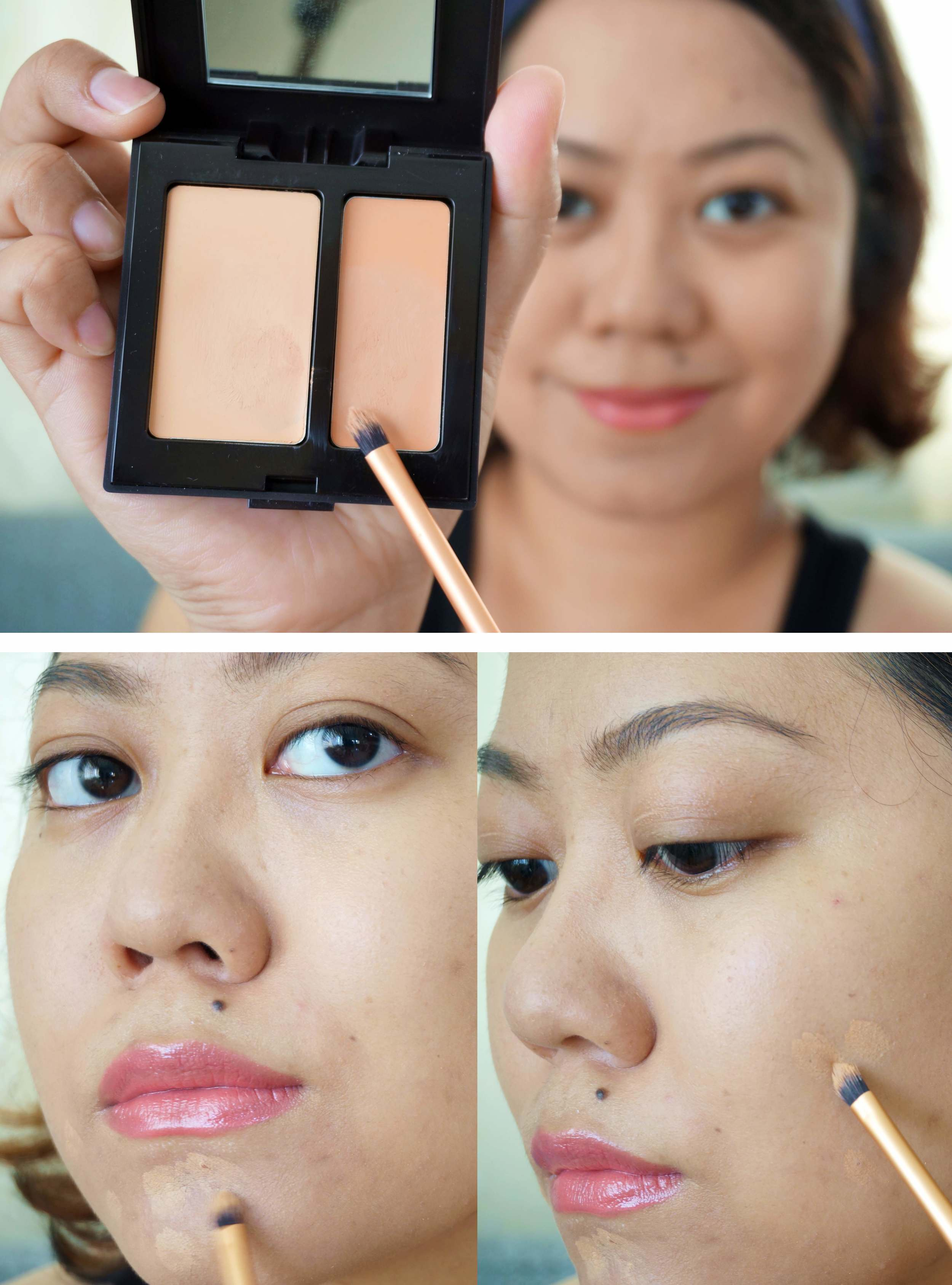 The concealer + brush in action. I mixed a bit too light on my chin, but the concealer on my cheeks is almost imperceptible.