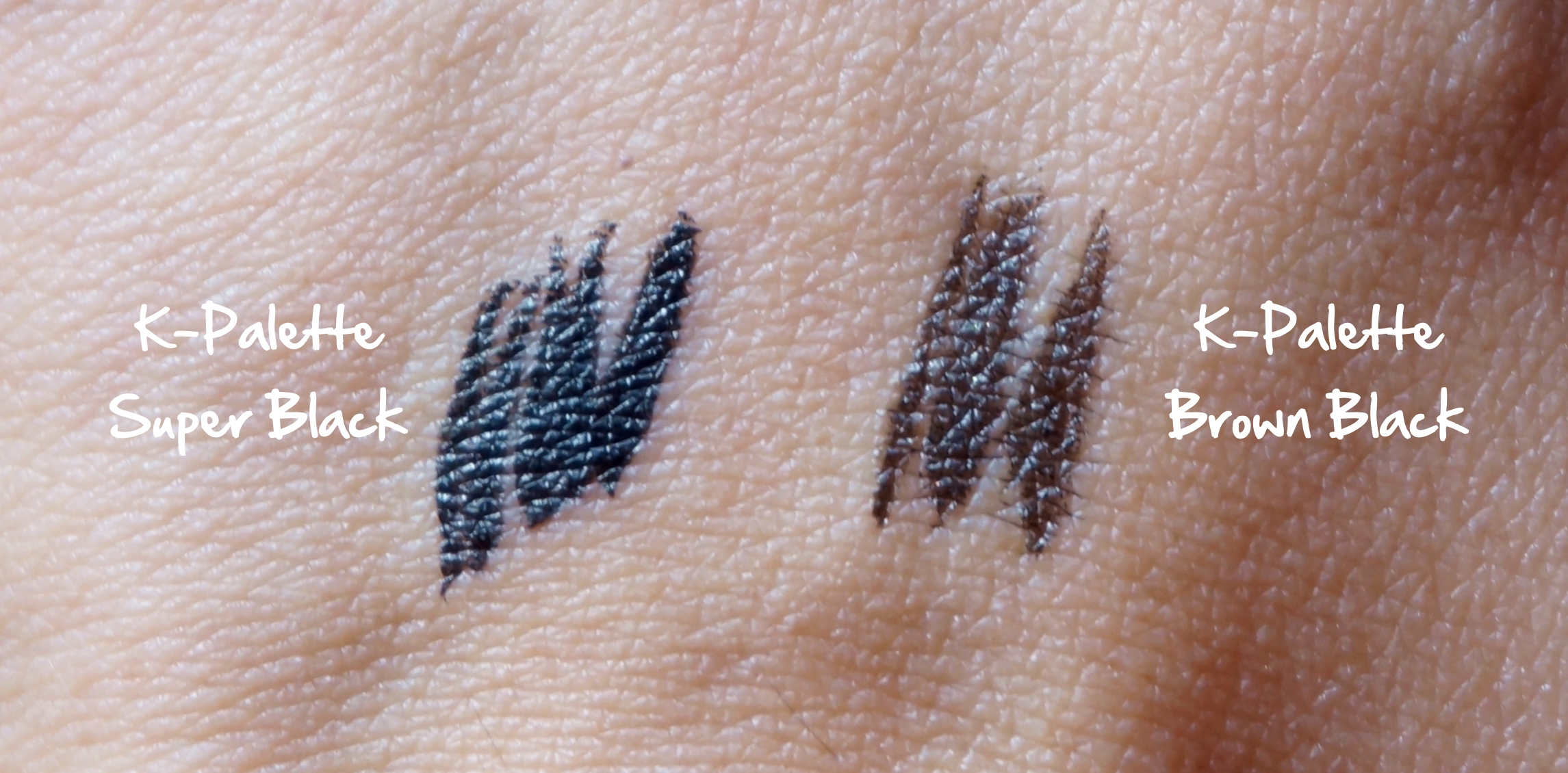 Comparison swatch: the K-Palette Super Black vs the Brown Black. There is a big difference when they're worn.