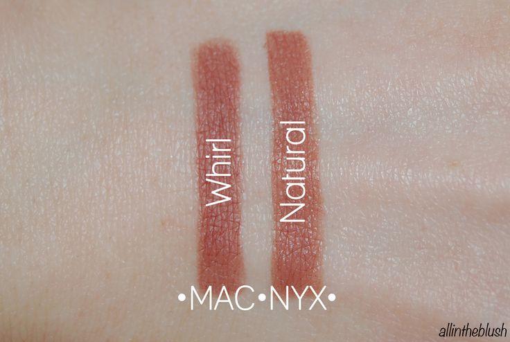 MAC Whirl and NYX Natural (Image via allintheblush.com)