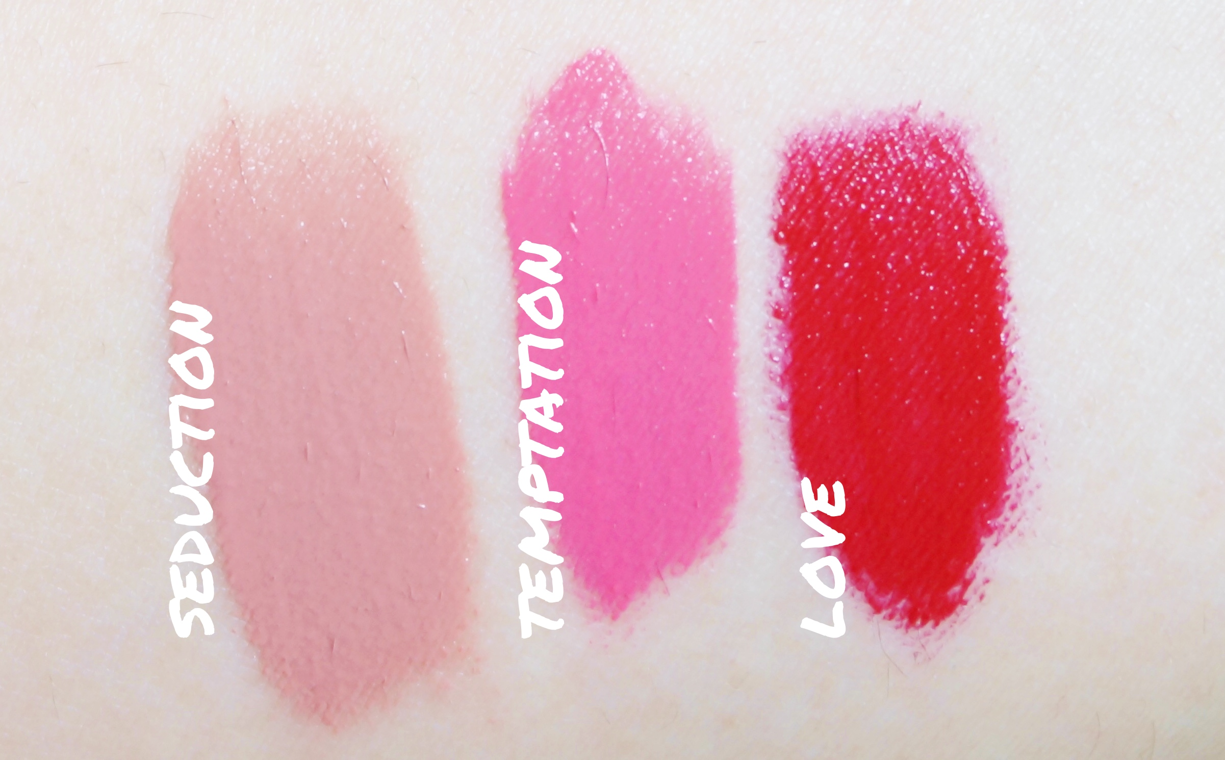 Correction: The red shade is  Passion , not Love. There eight available shades!