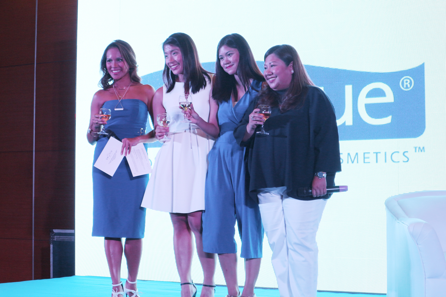 Host Gelli Victor, Céleteque Senior Product Manager AC Salvador, Céleteque Brand Assistant Ella Adriano, and Unilab Category Head for Skin Care Cate Reyes lead the toast for Céleteque Dermo's 10th year anniversary