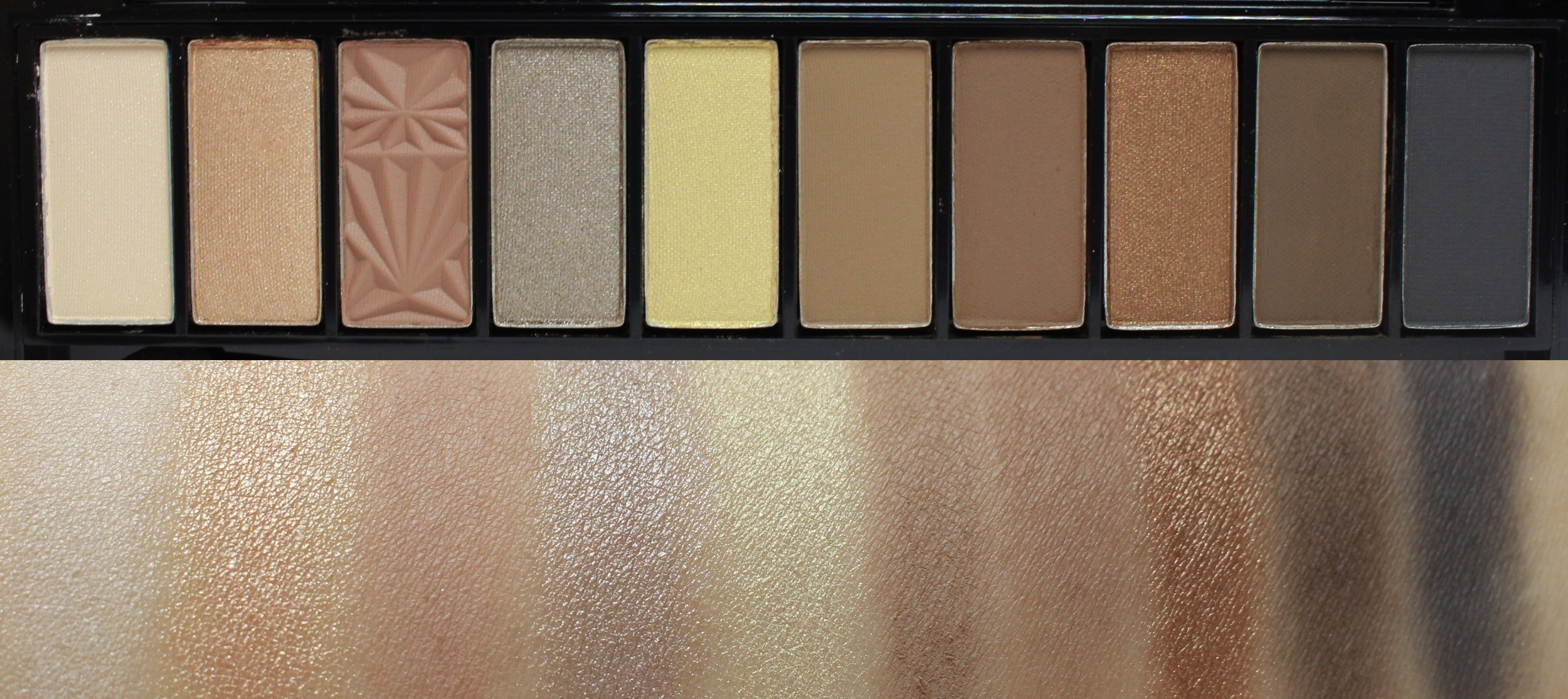 Swatches of L'Oreal La Palette Nude in Beige