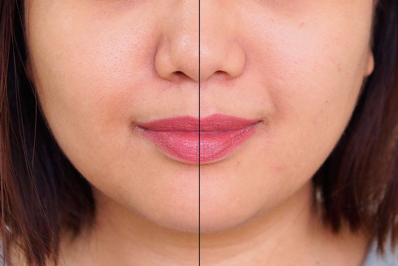 Left: bare skin, Right: skin with primer