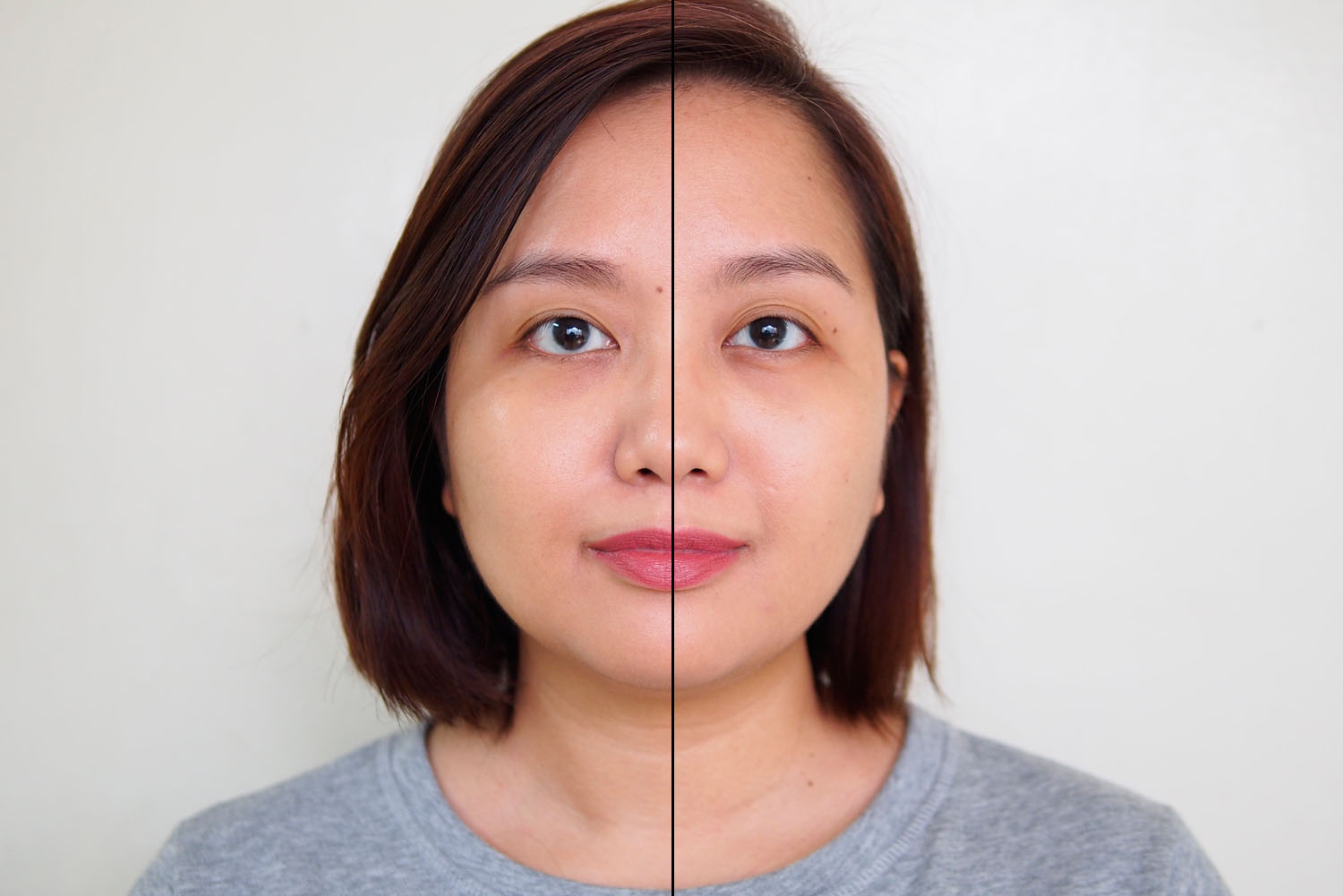 Left: foundation only, Right: foundation with primer