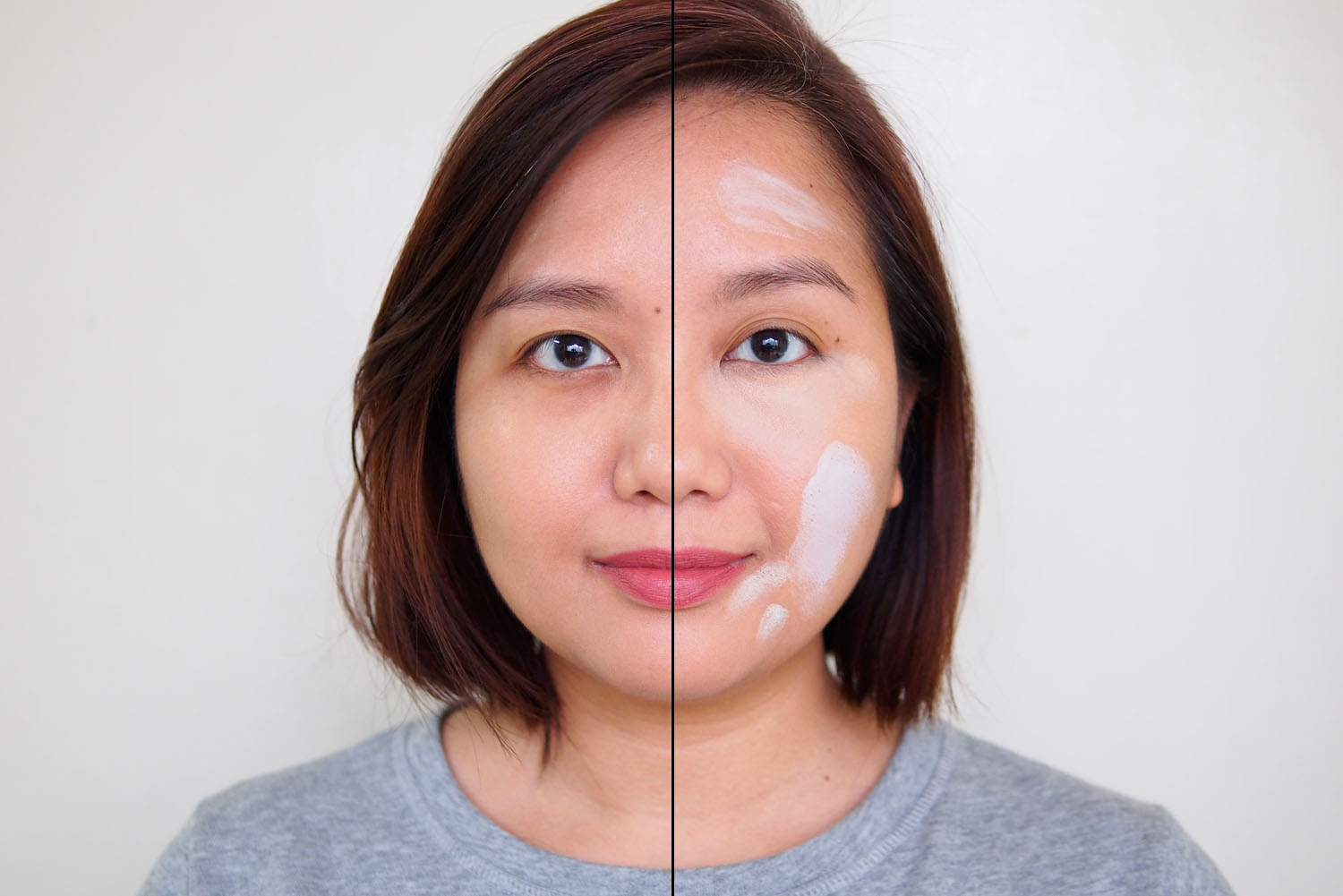 Left: foundation only, Right: unblended corrector