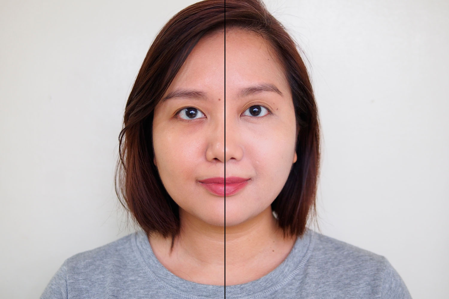 Left: foundation only, Right: blended corrector