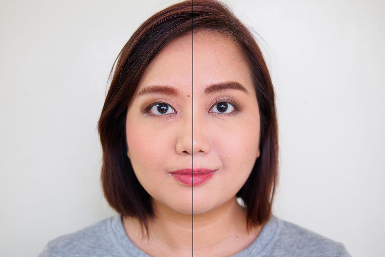 Left: Badly blended eyeshadow, Right: Correctly blended eyeshadow