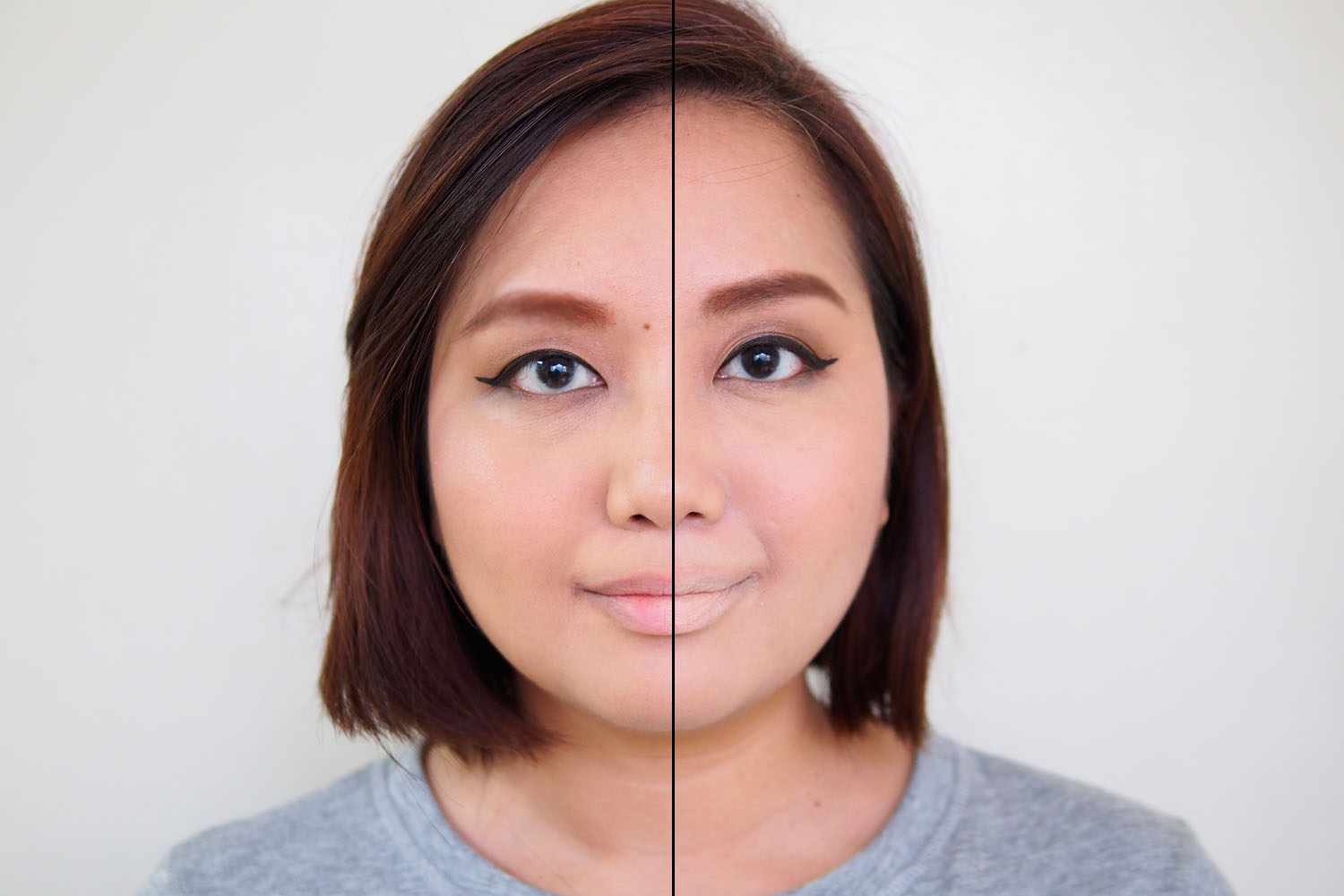 Left: Bare lips, Right: Lips with concealer