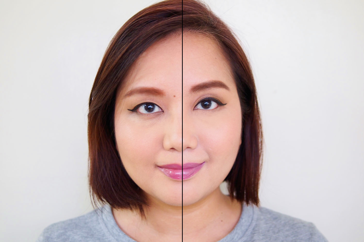Left: Lipstick only, Right: Lipstick with concealer base
