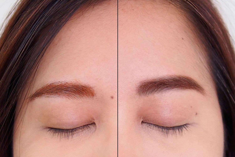 Left: Orange-tinged brow mascara, Right: Reddish brown brow mascara