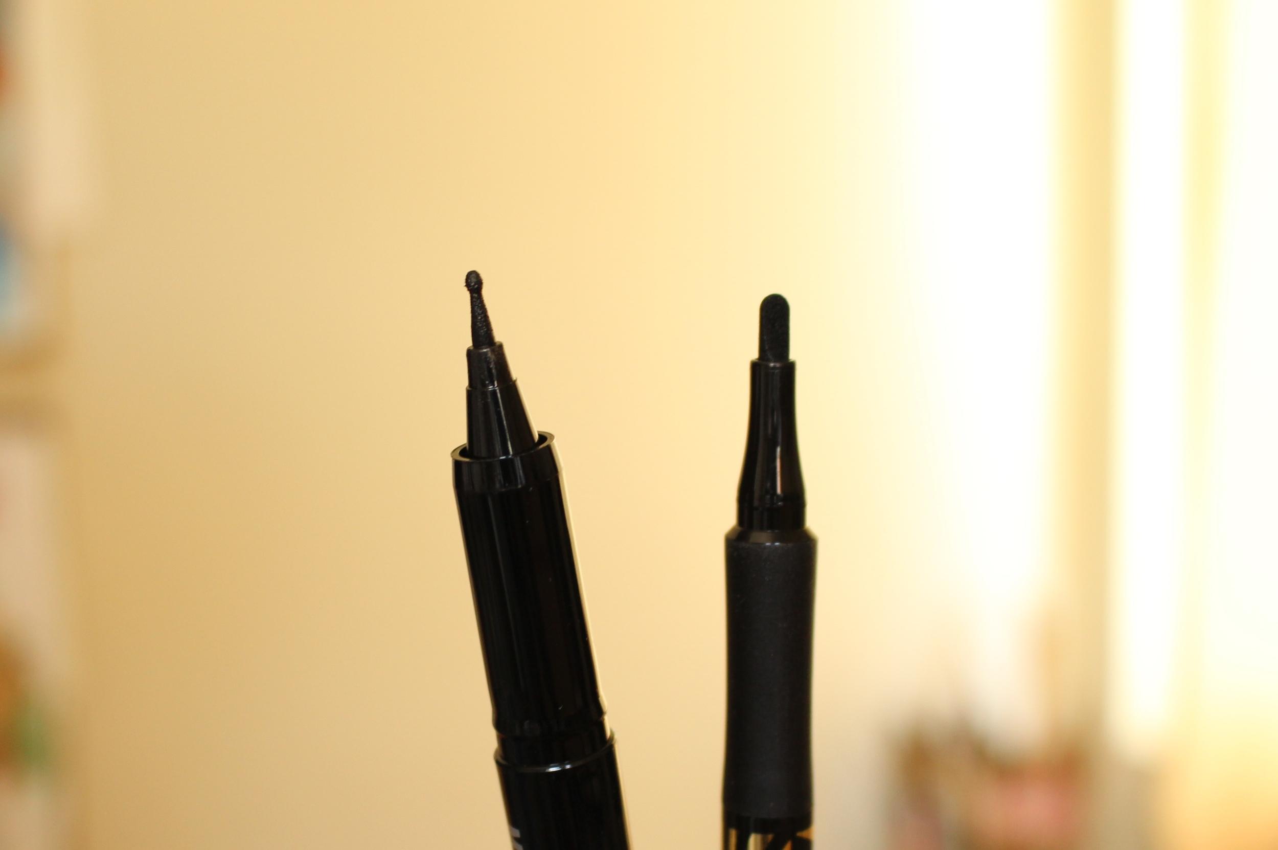 Left: Holika Holika Magic Pole Eyeliner, Right: Masx Factor Masterpiece Liner