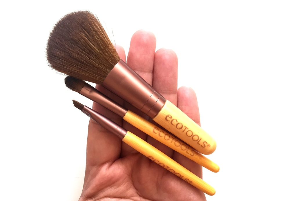 EcoTools uses soft synthetic taklon bristles and recycled aluminum ferrules in their signature bamboo-handled brushes