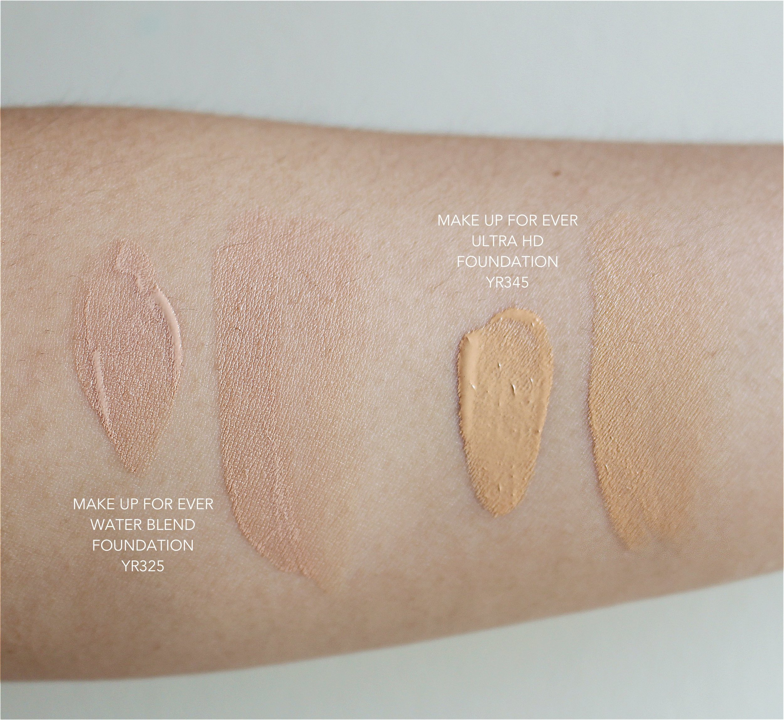 Here's a comparison swatch: the YR325 and YR345 in the two formulas are vastly different. The Water Blend, even though it's in the yellow red (YR) shade range, looks beige-ish. Make sure to swatch the foundation on your whole face to get an accurate shade match - you can't reference your Ultra HD shade here.