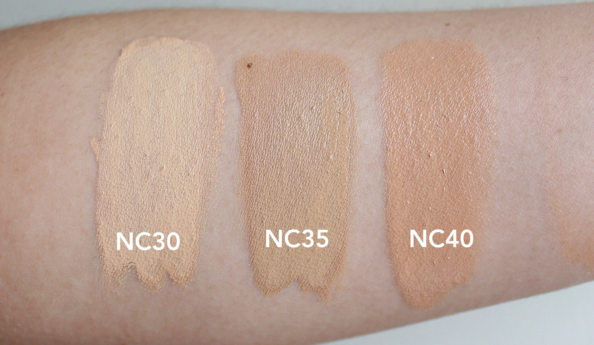 Editor's note: These are swatched on NC35 skin. I use NC35 comfortably, NC30 is too light on me when blended. - Liz