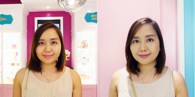 Before and after my Happy Skin makeover. I'm wearing the Mickey See lipstick!