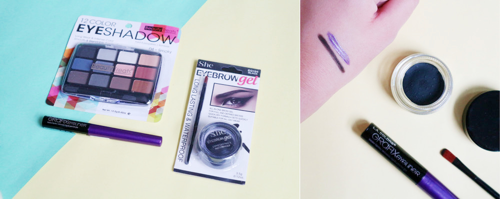 My eye makeup haul; swatches of the eyebrow gel and purple liner