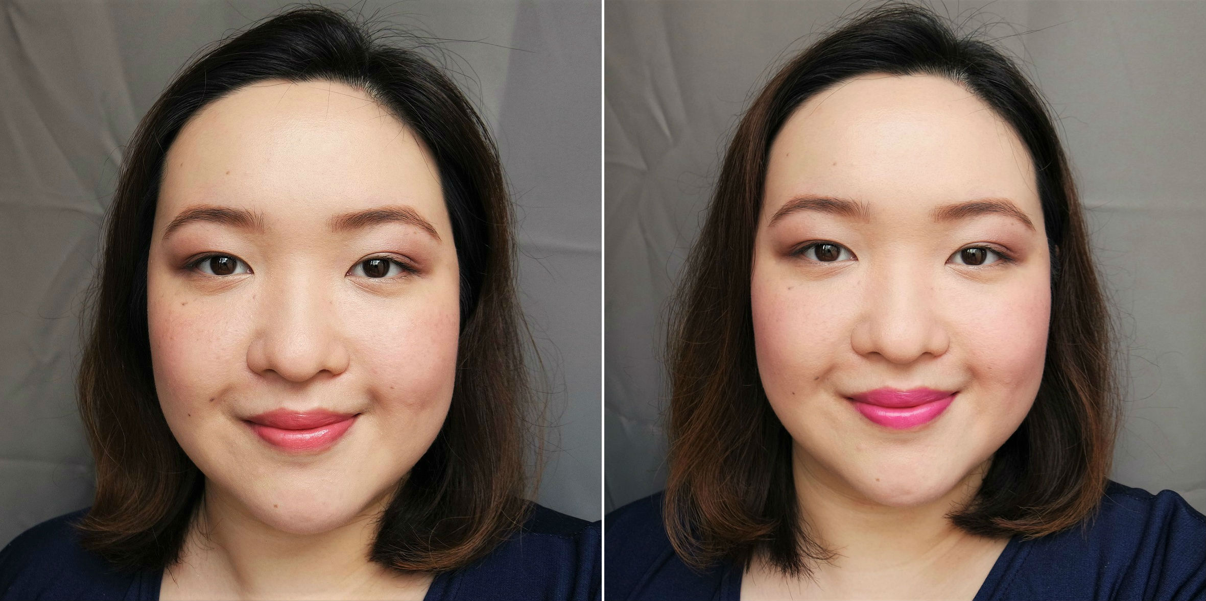 Wearing Photoready Matte Primer, CC Micro-Hydrating Powder, Eyebrow Defining Kit, Moisturizing Lip and Cheek Duo in Rosy Blush on cheeks and lips (left), and Soft Berry on cheeks and lips (right)