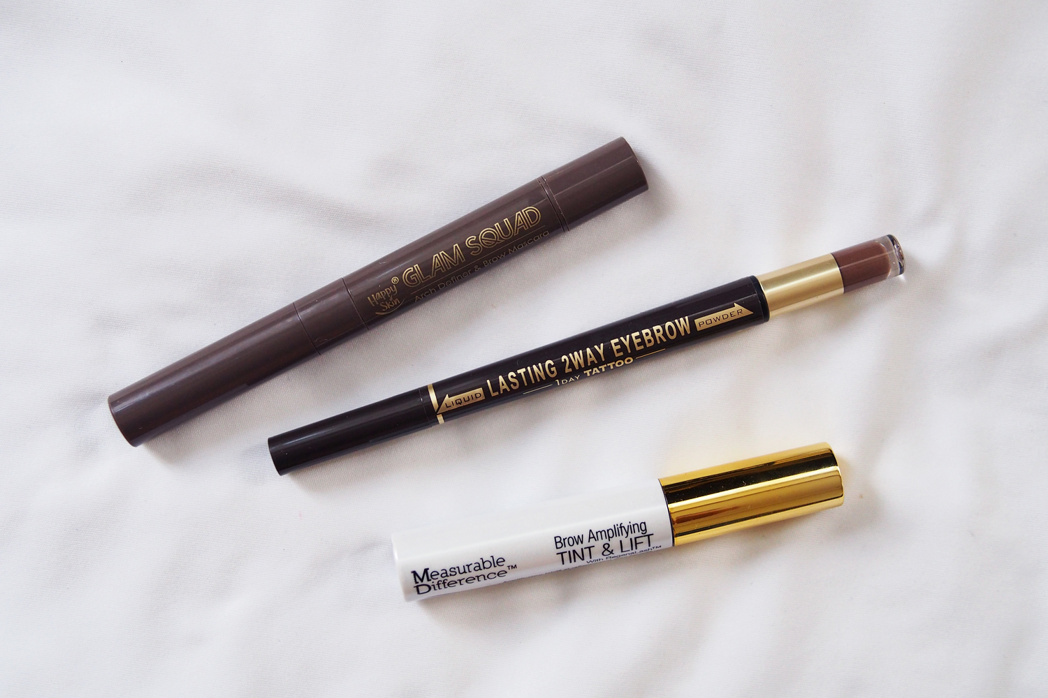 Happy Skin Glam Squad Arch Definer & Brow Mascara (P949),  K-Palette Lasting 2Way Eyebrow Pencil  (P795),  Measurable Difference Brow Amplifying Tint & Lift  (~P520)