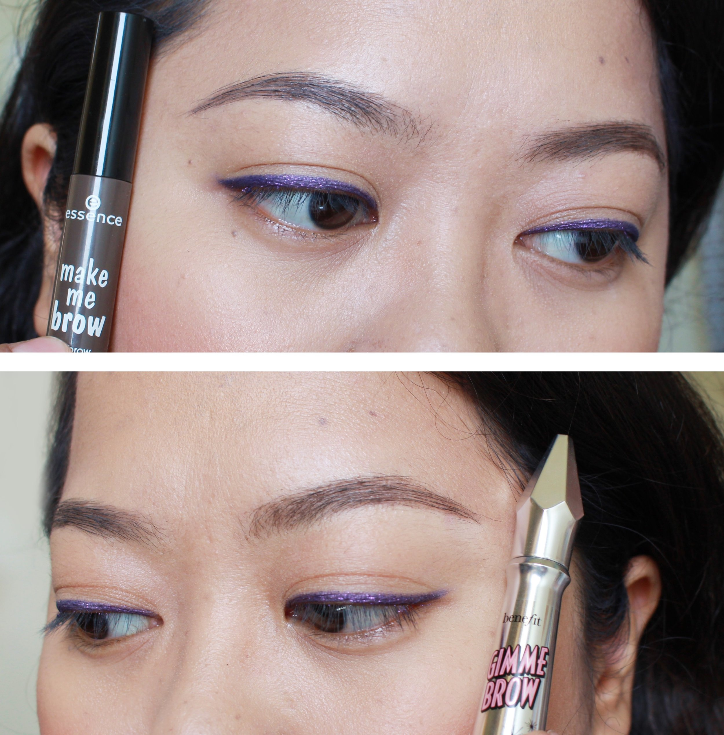 Both products are used on bare brows and layered on a couple of times