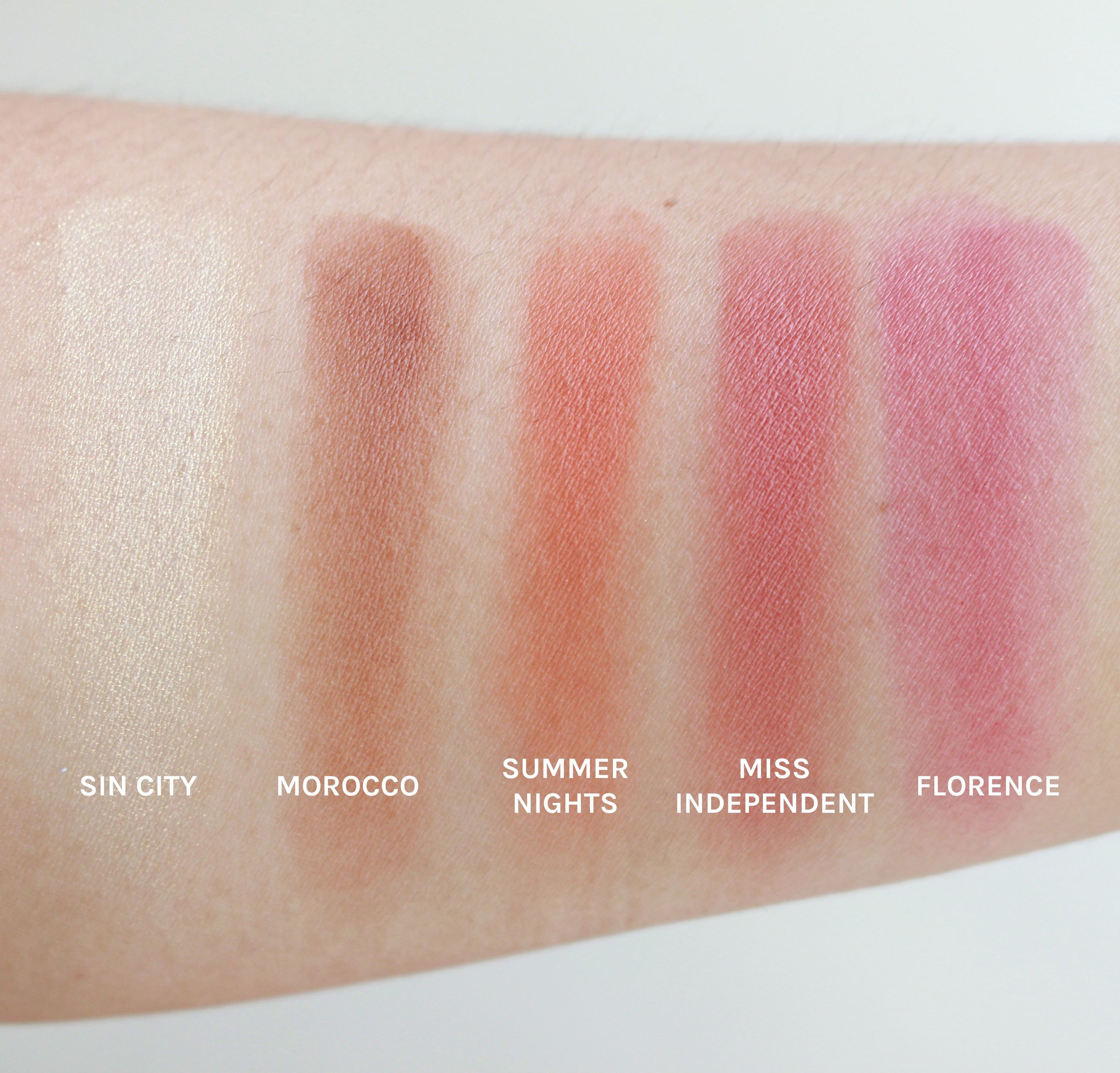 Save for Sin City, the four shades are all matte