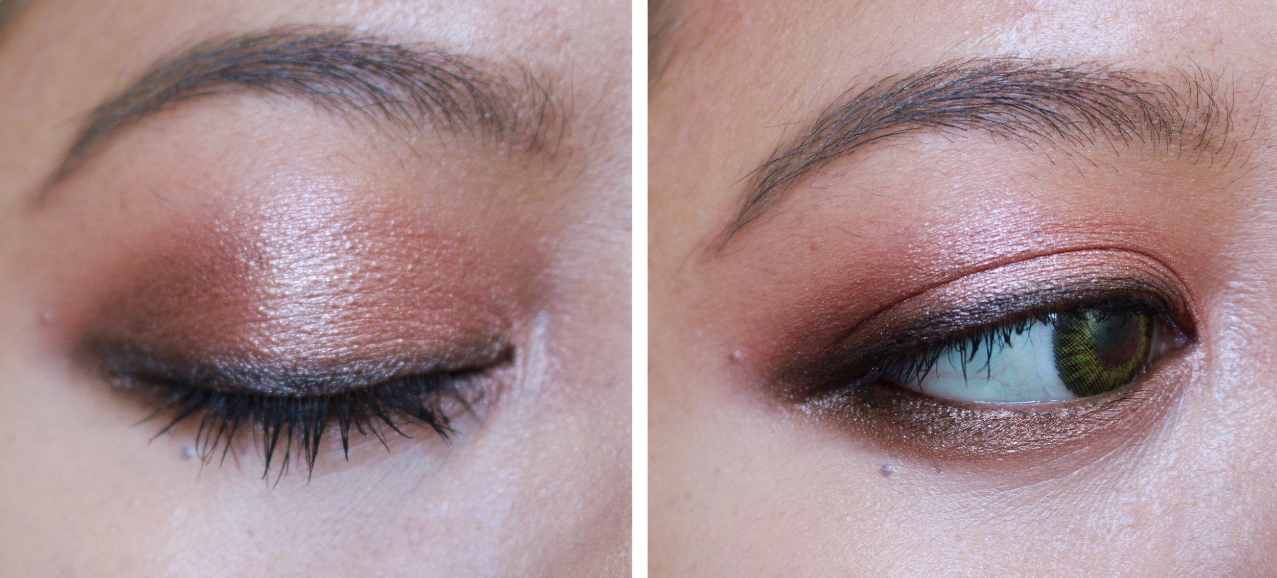 This one's cooler, more subdued. I blended Rose Gold on my lids, Rhodium on the outer lids, and Brass on the crease. I then used Steel to line my eyes. See how dark it is? It can be even more opaque if used wet.