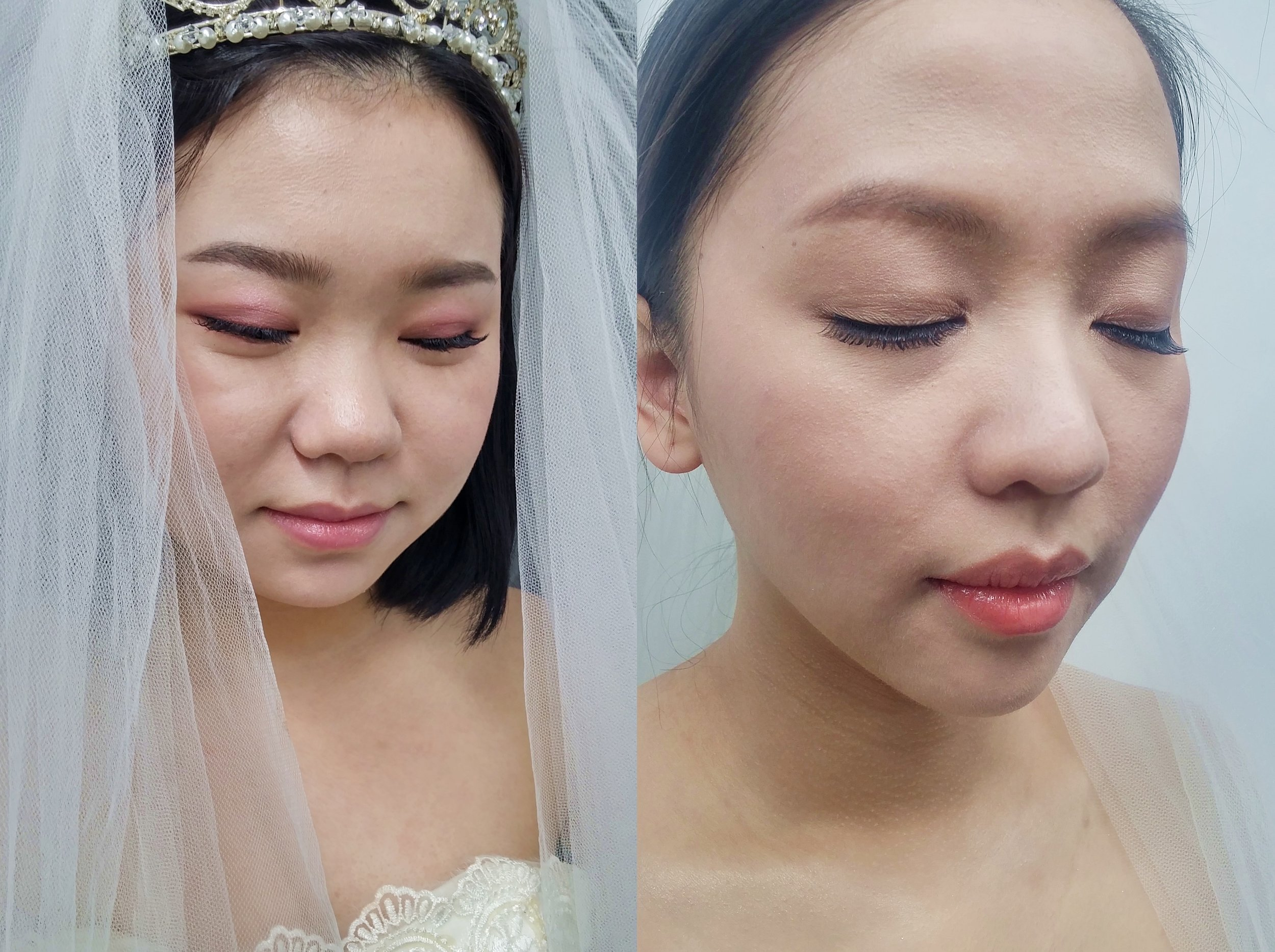 Left: photo shoot makeup / Right: wedding makeup